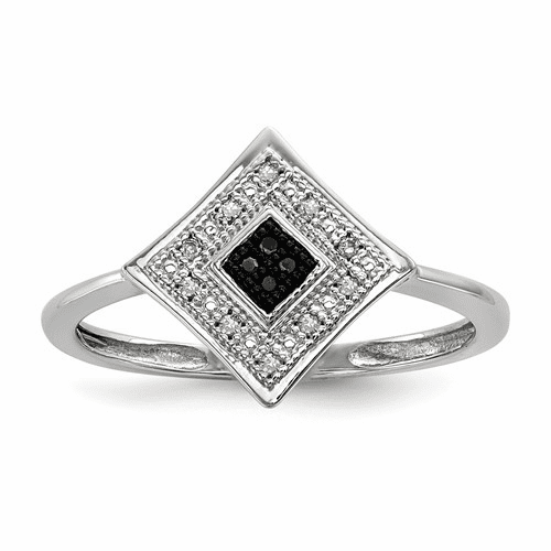 Sterling Silver Black And White Diamond Ring Qr5401-6