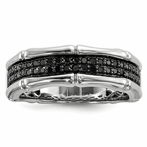 Sterling Silver Black And White Diamond Ring Qr5401-7