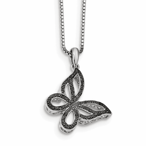 Sterling Silver Black Diamond Butterfly Pendant Qp3831