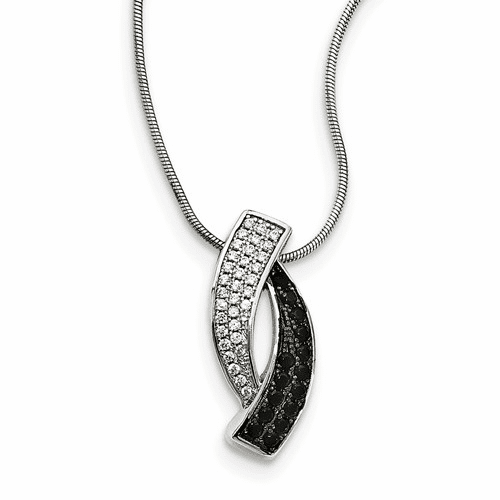 Sterling Silver Black Spinel & Cz Brilliant Embers Necklace Qmp1438-18