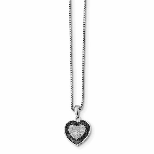Sterling Silver Black & White Diamond Heart Pendant Necklace Qp2333