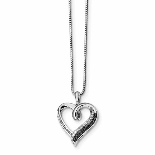 Sterling Silver Black & White Diamond Heart Pendant Qp3747