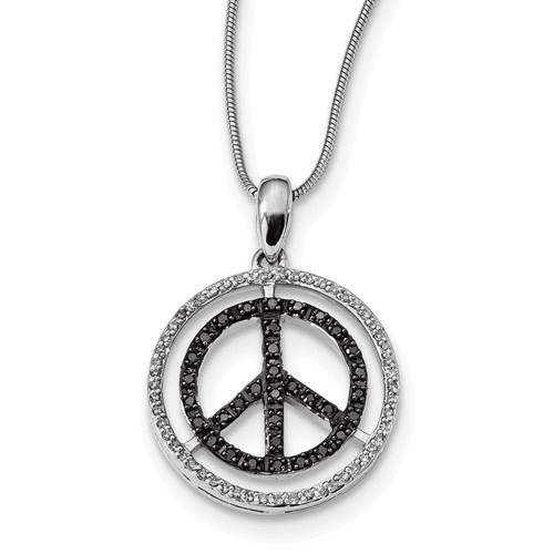 Sterling Silver Black & White Diamond Pendant Qp3766