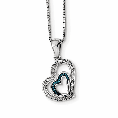 Sterling Silver Blue And White Diamond Heart Pendant Qp3640