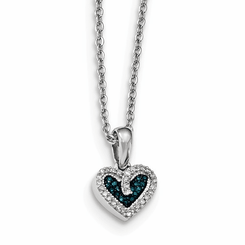 Sterling Silver Blue And White Diamond Heart Pendant Qp3645