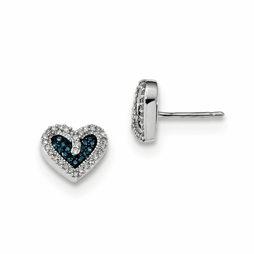 Sterling Silver Blue And White Diamond Heart Post Earrings Qe10720