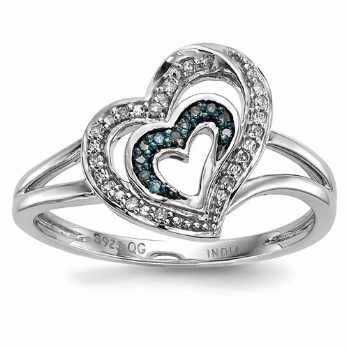 Sterling Silver Blue And White Diamond Heart Ring Qr5163-8