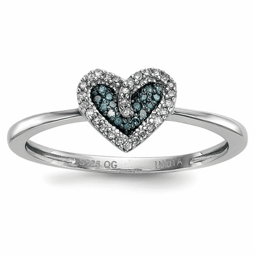 Sterling Silver Blue And White Diamond Heart Ring Qr5169-7