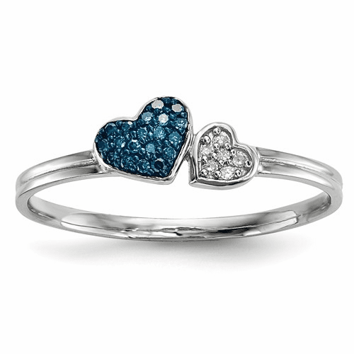 Sterling Silver Blue And White Diamond Hearts Ring Qr5177-8