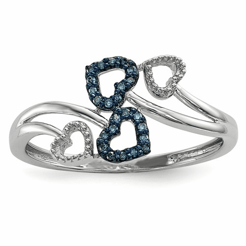 Sterling Silver Blue And White Diamond Multi Heart Ring Qr5178-8
