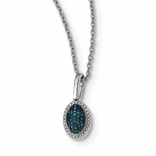 Sterling Silver Blue And White Diamond Oval Pendant Qp4694
