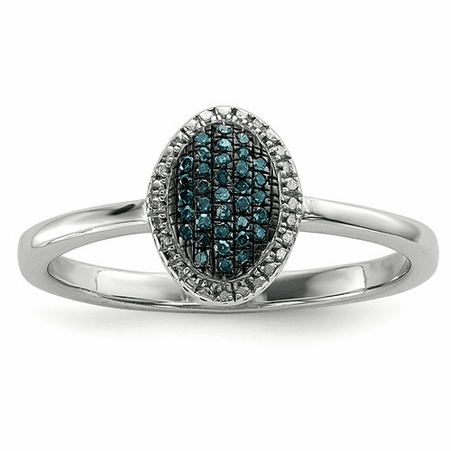 Sterling Silver Blue And White Diamond Oval Ring Qr6513-8