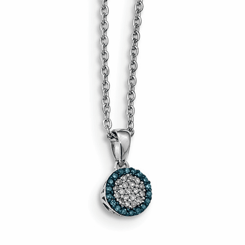 Sterling Silver Blue And White Diamond Pendant Qp3663