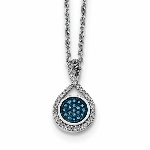 Sterling Silver Blue And White Diamond Pendant Qp3664
