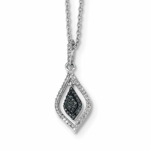 Sterling Silver Blue And White Diamond Pendant Qp3673