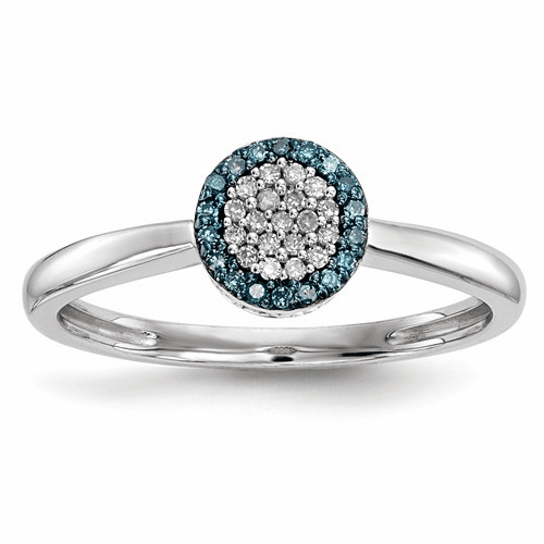 Sterling Silver Blue And White Diamond Ring Qr5185-7