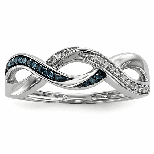 Sterling Silver Blue And White Diamond Ring Qr5248-8