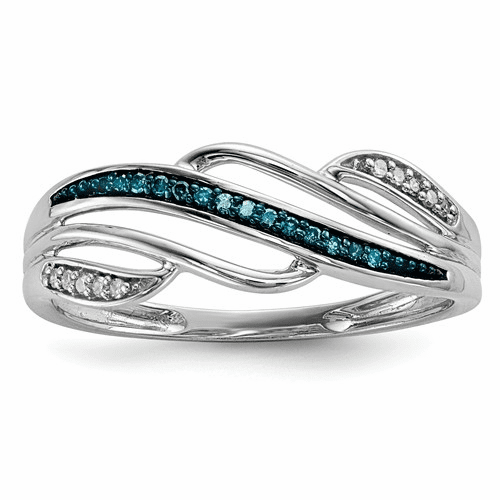 Sterling Silver Blue And White Diamond Ring Qr5289-8