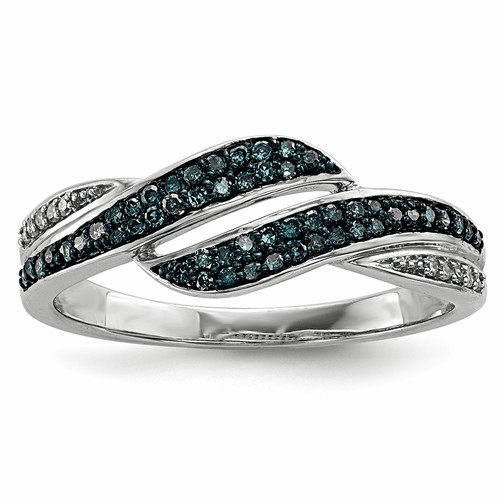 Sterling Silver Blue And White Diamond Ring Qr5308-7