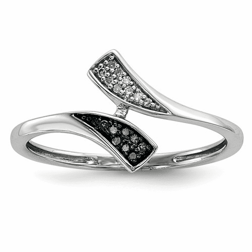 Sterling Silver Blue And White Diamond Ring Qr5312-7