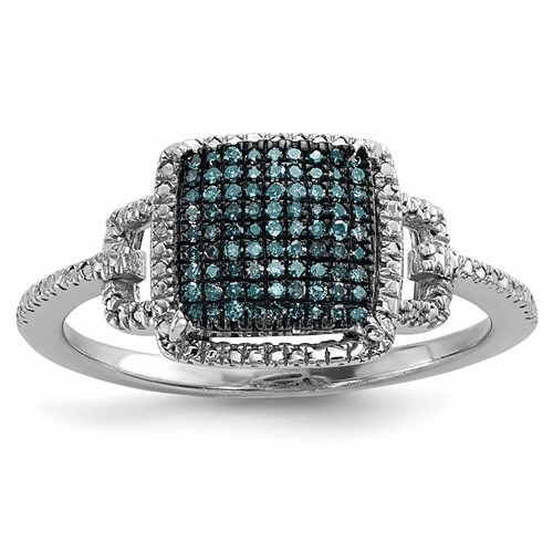 Sterling Silver Blue And White Diamond Ring Qr6512-8