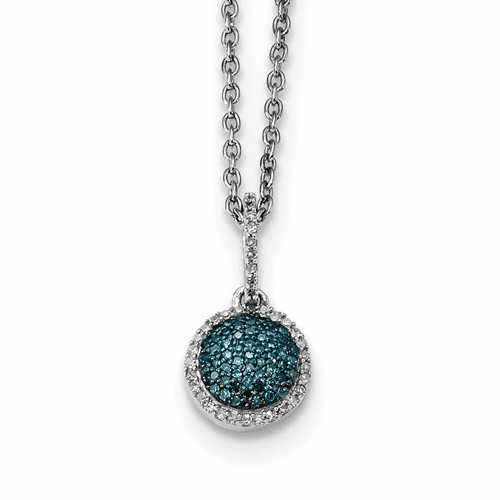 Sterling Silver Blue And White Diamond Round Pendant Qp3662