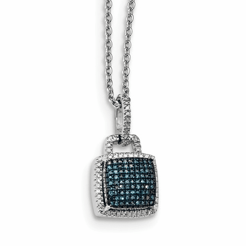 Sterling Silver Blue And White Diamond Square Pendant Qp4691