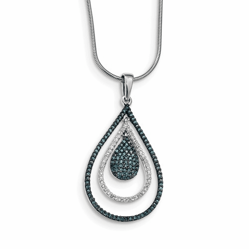 Sterling Silver Blue And White Diamond Teardrop Pendant Qp3674