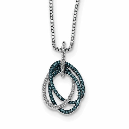 Sterling Silver Blue And White Diamond Triple Oval Pendant Qp3686