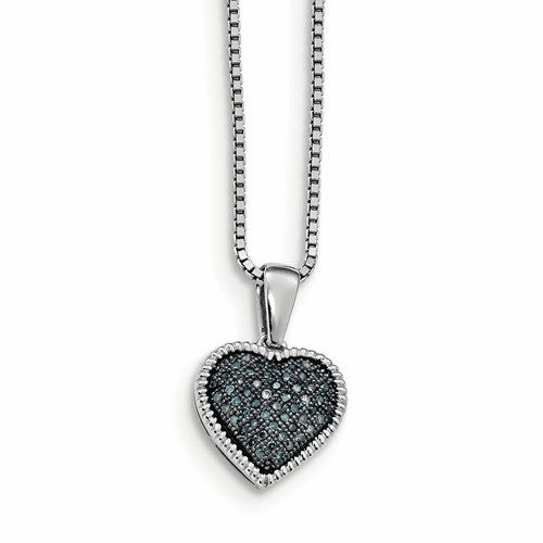 Sterling Silver Blue Diamond Heart Pendant Qp3643
