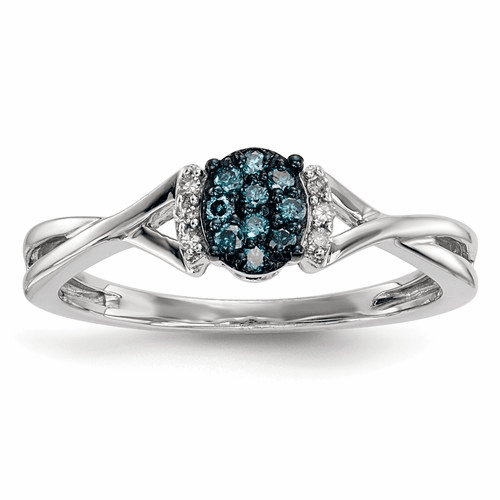 Sterling Silver Blue & White Diamond Oval Ring Qr5266-7