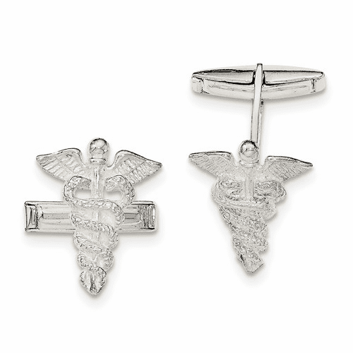 Sterling Silver Caducei Cuff Links Qq553