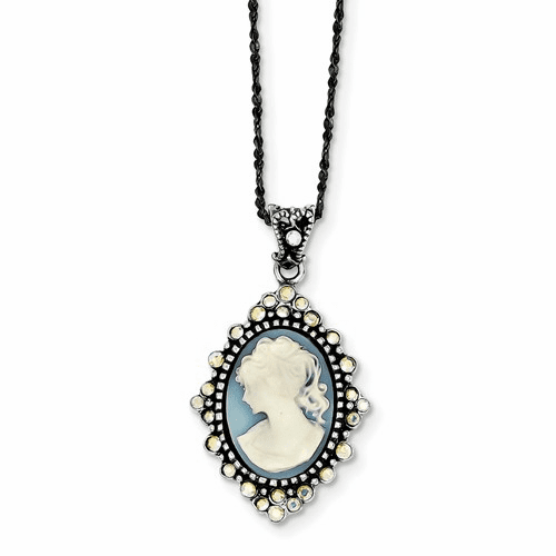 Sterling Silver Cameo Crystal Necklaces