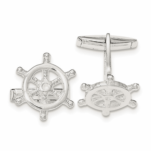 Sterling Silver Captains Wheel Cuff Links Qq562