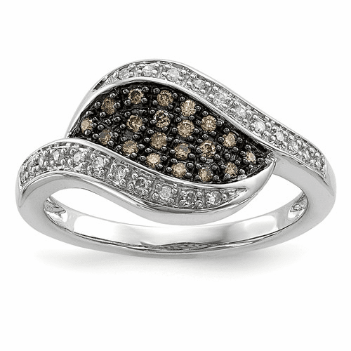 Sterling Silver Champagne Diamond Fancy Marquise Ring Qr5151-8