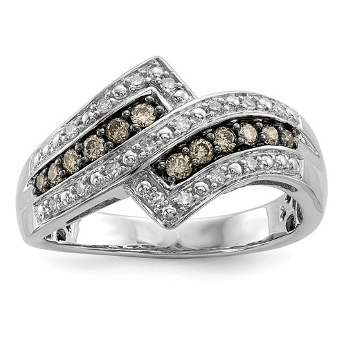 Sterling Silver Champagne Diamond Fancy Two Lined Ring Qr5136-6