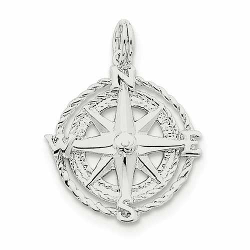 Sterling Silver Compass Charm Qc4964