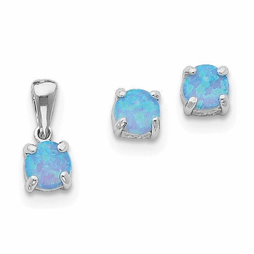 Sterling Silver Created Opal Pendant & Earring Set Qst205