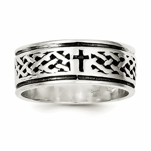 Sterling Silver Cross & Weave Design Ring Qr1957-11