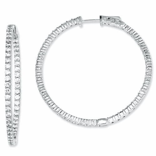 Sterling Silver Cz 100 Stones In And Out Round Hoop Earrings Qe7577