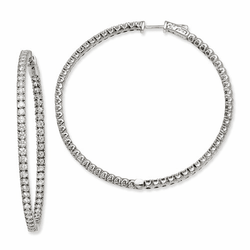 Sterling Silver Cz 124 Stones In And Out Round Hoop Earrings Qe7583