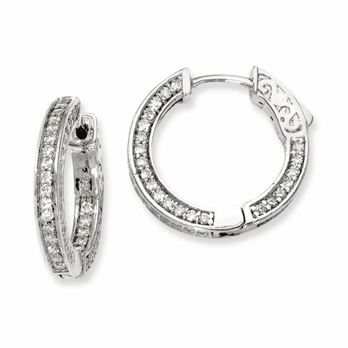 Sterling Silver Cz 134 Stones In And Out Round Hoop Earrings Qe7566