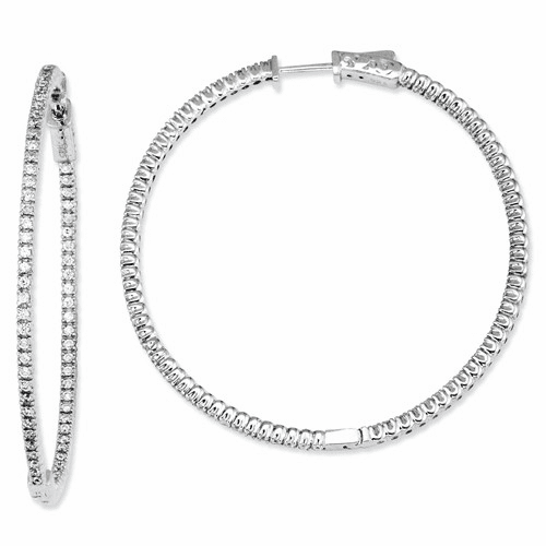 Sterling Silver Cz 156 Stones In And Out Round Hoop Earrings Qe7563