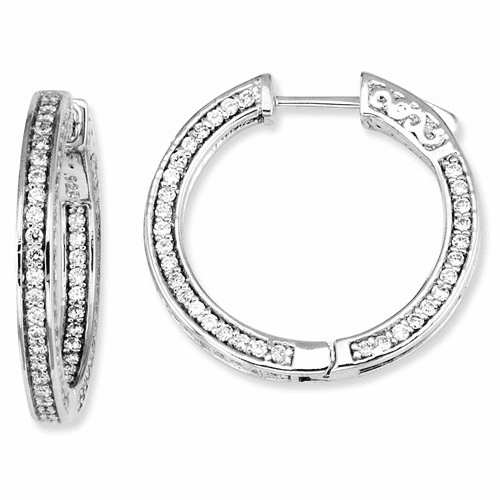 Sterling Silver Cz 200 Stones In And Out Round Hoop Earrings Qe7565