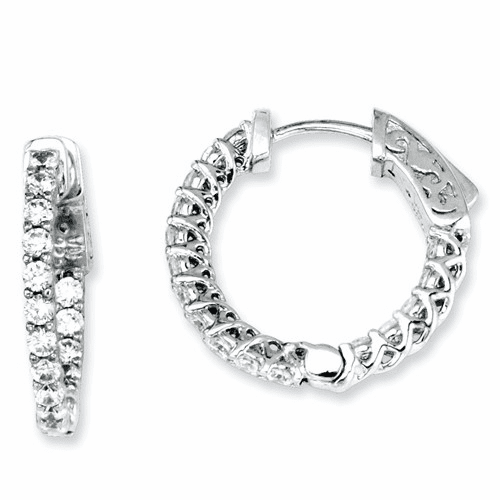 Sterling Silver Cz 32 Stones In And Out Round Hoop Earrings Qe7572