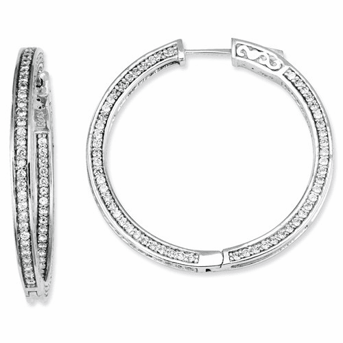 Sterling Silver Cz 336 Stones In And Out Round Hoop Earrings Qe7564