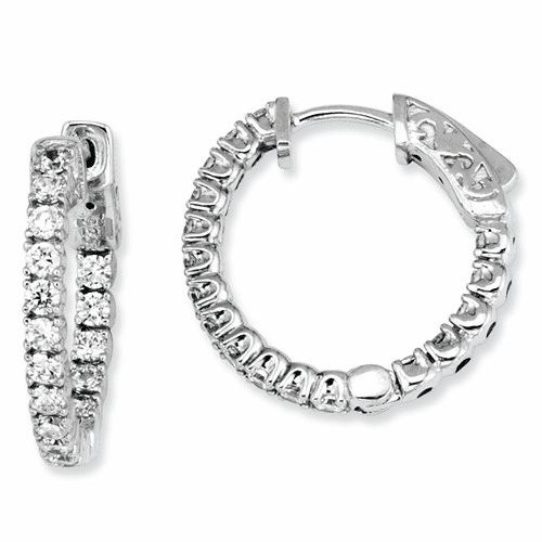 Sterling Silver Cz 34 Stones In And Out Round Hoop Earrings Qe7567