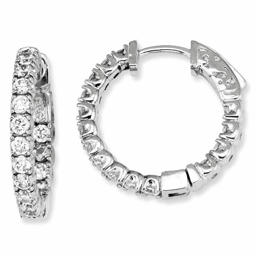 Sterling Silver Cz 40 Stones In And Out Round Hoop Earrings Qe7570