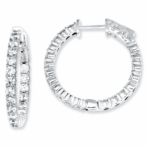 Sterling Silver Cz 40 Stones In And Out Round Hoop Earrings Qe7580