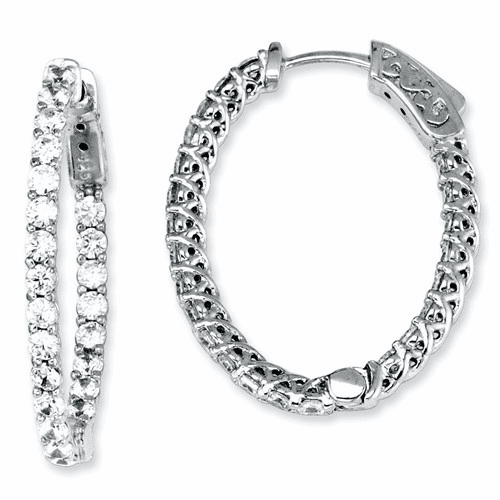 Sterling Silver Cz 46 Stones In And Out Oval Hoop Earrings Qe7578